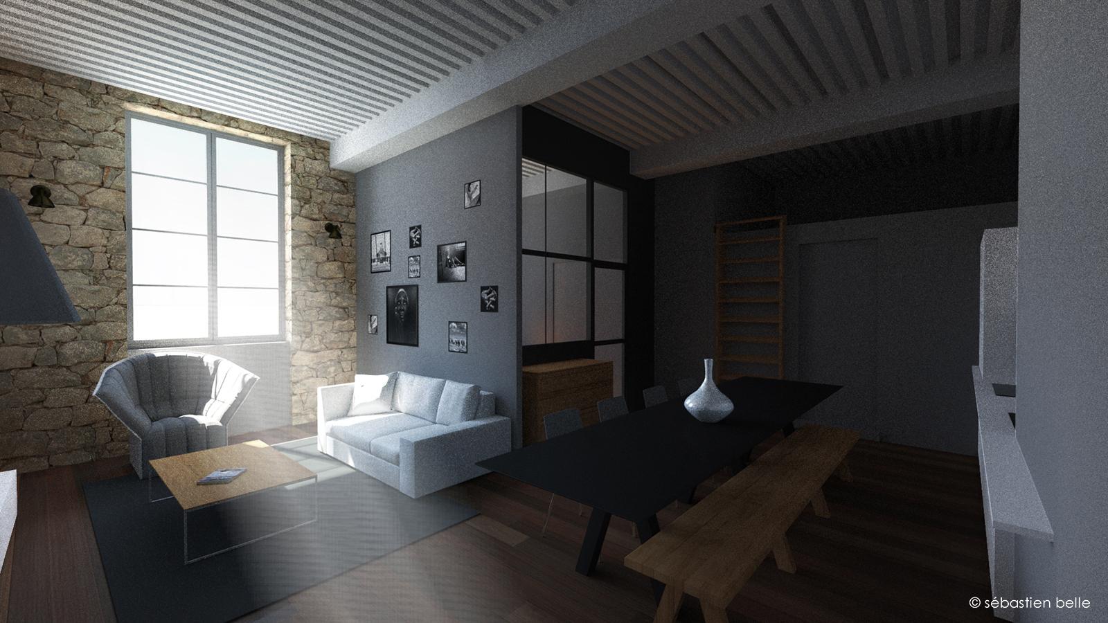intérieur moderne appartement canut croix rousse
